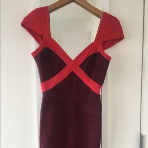 Authentic Herve Leger Beet Red Cap Sleeves Dress